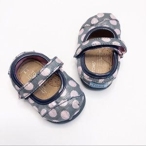 TOMS Velcro Blue Pink Silver Polka Dot Shoes 3T